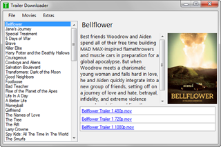 The main window of 'Trailer Downloader'.